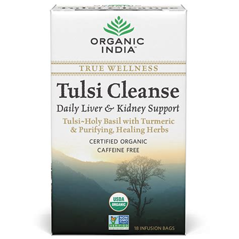 Daily Liver Detox Tea by Buy Organic India Tulsi Cleanse Herbal Tea Daily Liver