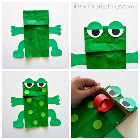 paper bag frog puppet with free pattern i crafty