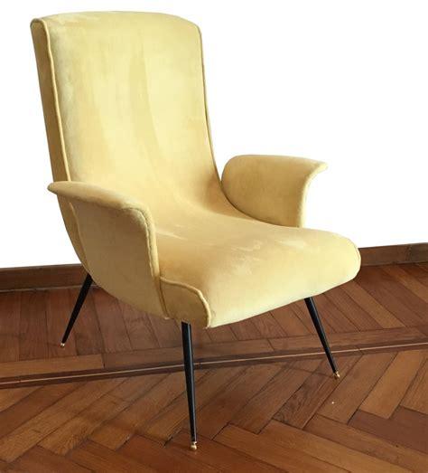 yellow velvet armchair stylish yellow velvet armchair with brass feet 1950s 66396