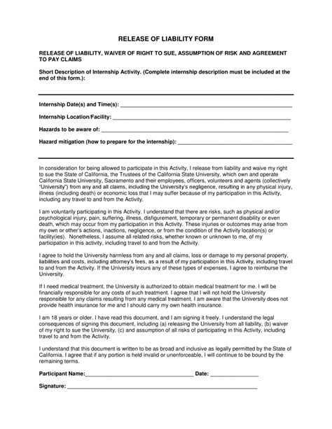 release of liability form template free california liability release form pdf template