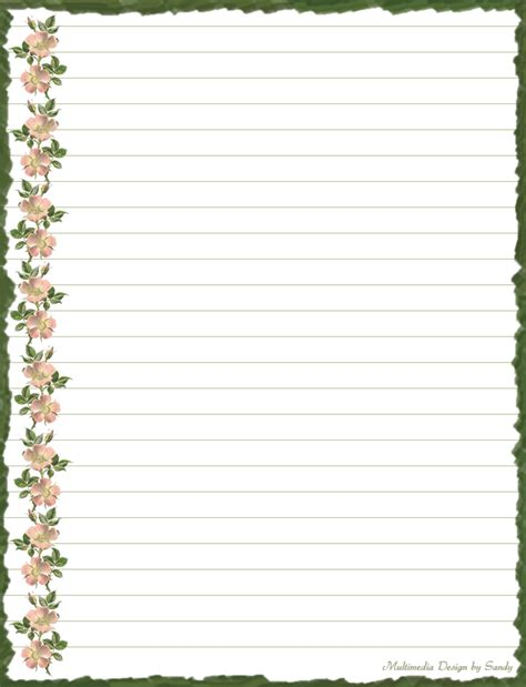 lined paper with plant border stationery border cliparts co