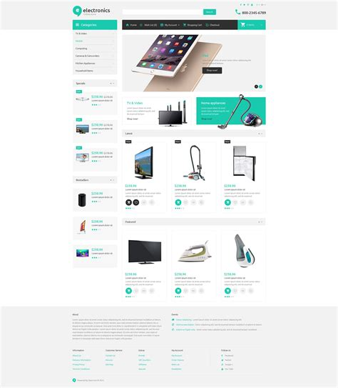 e shopping template electronic store opencart theme