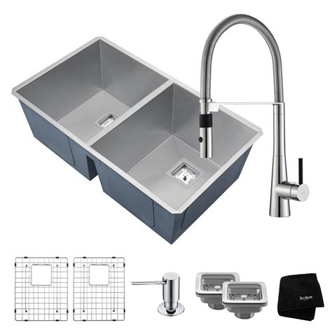 Kraus Stainless Steel Kitchen Sinks Kraus Pax Zero Radius All In One Undermount Stainless Steel 32 In 50 50 Bowl Kitchen