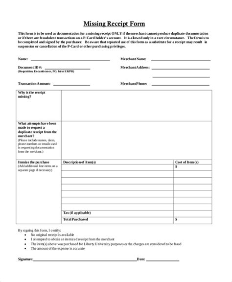 missing receipt form template sle blank receipt forms 9 free documents in pdf word