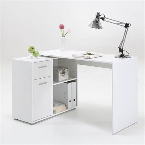 Albea Rotating Corner Computer Desk In White 22597 Corner White Computer Desk