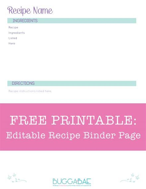 bugga bae free printable editable recipe binder page