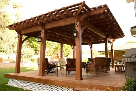 Backyard Deck Pergola Lattice Fullwrap Cantilever Roof Covered Pergola Kits