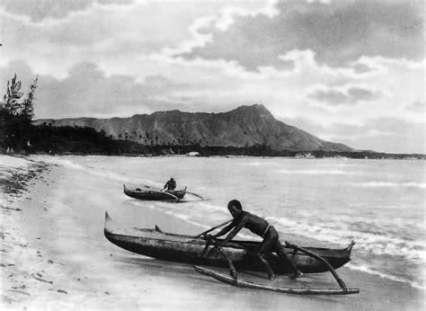 fishing boat jobs in hawaii file two natives with outrigger canoes at shoreline