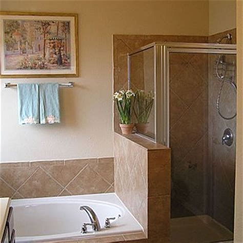 bathroom with separate shower and bathtub seperate shower and tub
