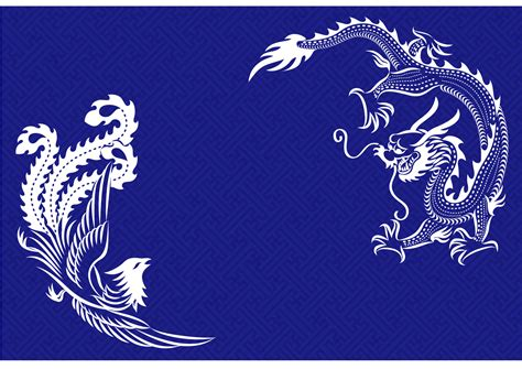 chinese pattern vector ai chinese classical style loong dragon and phoenix pattern