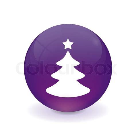 runder lila knopf weihnachtsbaum icon vektorgrafik