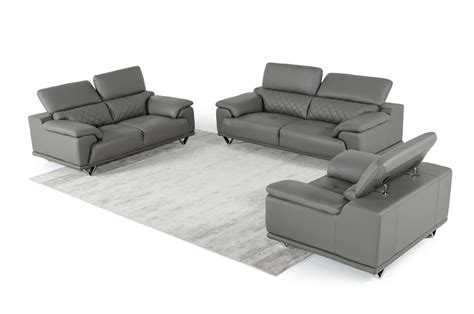 gray leather sofa set divani casa wolford modern grey leather sofa set