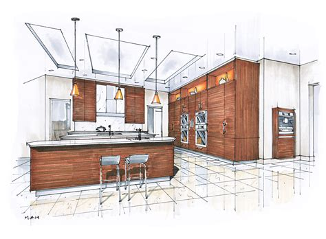 kitchen design drawings hand rendering mick ricereto interior product design