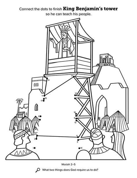 lds coloring page book of mormon king benjamin addresses his people