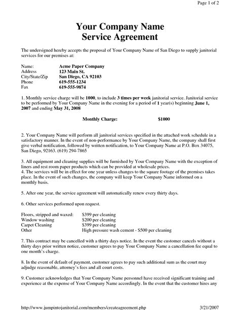 commercial cleaning contract templates janitorial service agreement by hgh19249 sle