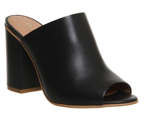 office pose block heel mules black leather high heels