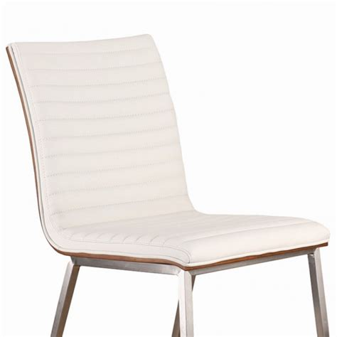 Brushed Stainless Steel Dining Chairs Caf 233 Brushed Stainless Steel Dining Chair In White Pu With Walnut Back Set Of 2