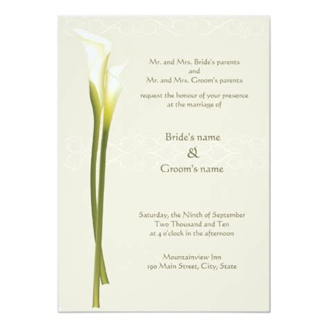 White Calla Lily Wedding Invitation Zazzle Calla Wedding Invitation Templates
