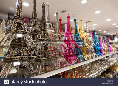 Colored Eiffel Tower small and colored eiffel tower souvenirs in a shop stock