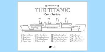 the titanic cross section colour labelling worksheet titanic