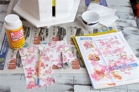 Napkin Decoupage Tutorial - haniela s cherry tree birdhouse napkin decoupage