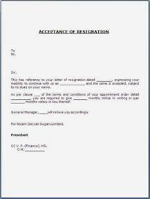 Letter To Accept Resignation acceptance of resignation letter