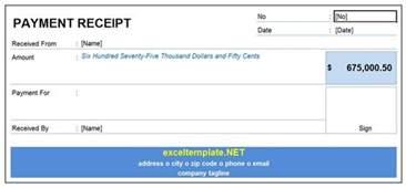 receipt of payment template payment receipt excel templates