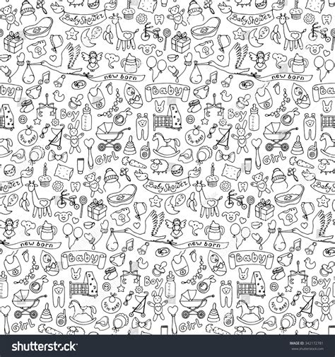handwriting pattern wallpaper seamless pattern baby hand drawn doodle stock vector
