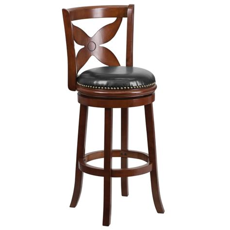 bar stools cherry wood 29 cherry wood bar stool with black leather swivel seat