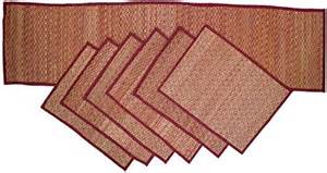 Dining Table Runners And Placemats Souvnear Set Of 6 Placemats And 1 Runner Woven Grass Straw Kitchen Dining Table Mats
