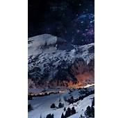 Winter Mountains Landscape Stars IPhone 5 Wallpaper HD