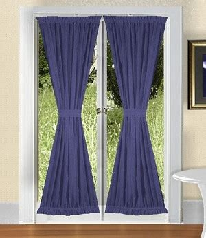 solid royal blue colored door curtain available in many lengths