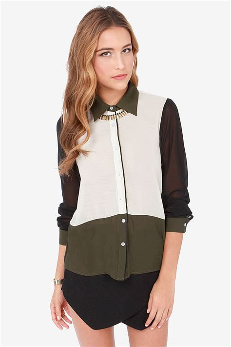 color block tops color block top olive green top button up top