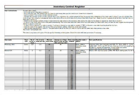 controlled register template excel inventory template 21 free excel pdf documents