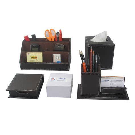 Office Desk Stationery 5 Pcs Set Office Desk Stationery Organizer Pen Holder With Card Stand Note