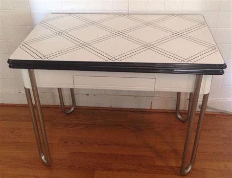 Vintage Enamel Top Kitchen Table Vintage Retro Enamel Top Kitchen Table W Slide Leafs Drawer Woodwork Chrome 1851588487