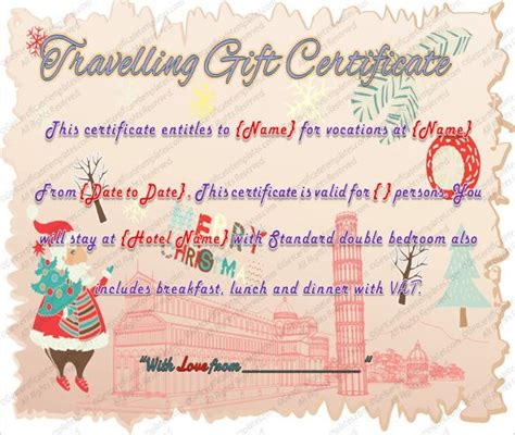 printable travel gift certificate template word  psd voucher project management business