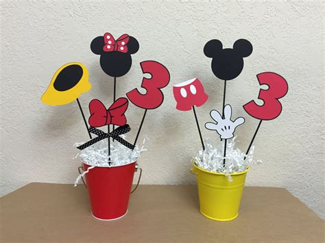 Mickey Mouse And Minnie Mouse Birthday Centerpieces Boy Girl Centerpieces For Mickey Mouse Birthday