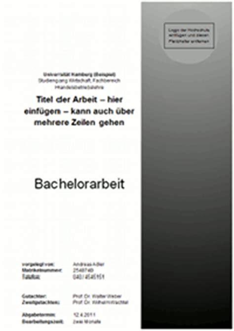 Vorlage Word Hausarbeit Gestaltung Und Inhalt Des Deckblattes Einer Bachelorarbeit