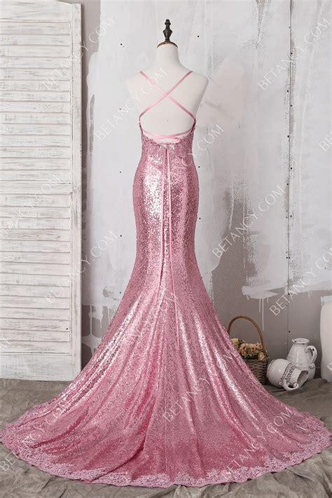 elegant pink lace appliqued sequin spaghetti strap  neck