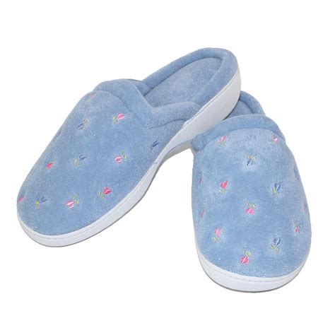 totes slippers womens womens terry scalloped embroidered clog slippers by totes