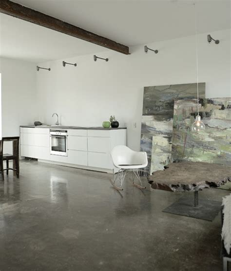 concrete floor apartment simple studio home design artist s space in denmark