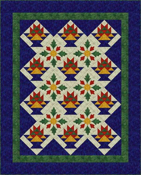 Patchwork Applique Patterns - sew a basket quilt that combines patchwork and applique