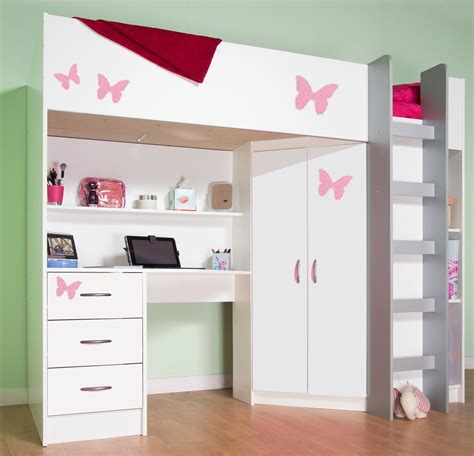 High Sleeper Bed With Desk And Wardrobe high sleeper cabin bed with desk and wardrobe calder m2270