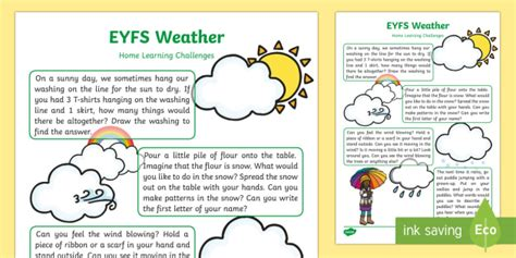 My Early Learning Carrying Family Feelings Wheater weather home learning challenges nursery fs1 weather home