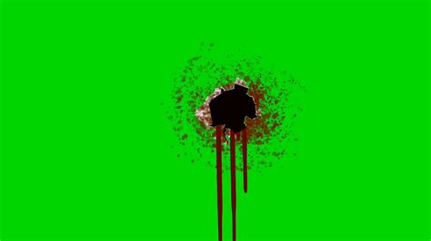 after effects free template bullet shoots 2 bleeding bullet hole on a green screen background motion