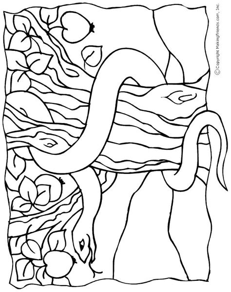 snake   garden  eden colouring page  creation