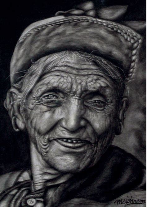 nepali old woman painting by johnson moya