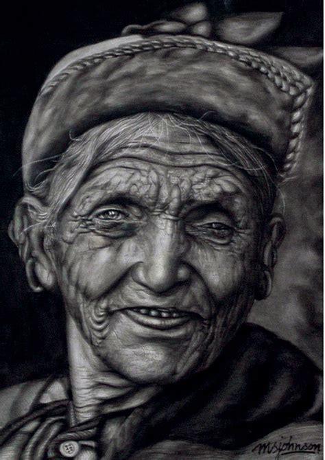 nepali old woman painting by johnson moya