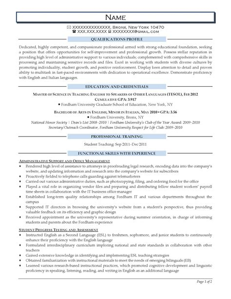 teaching resume sles entry level entry level resume sles resume prime